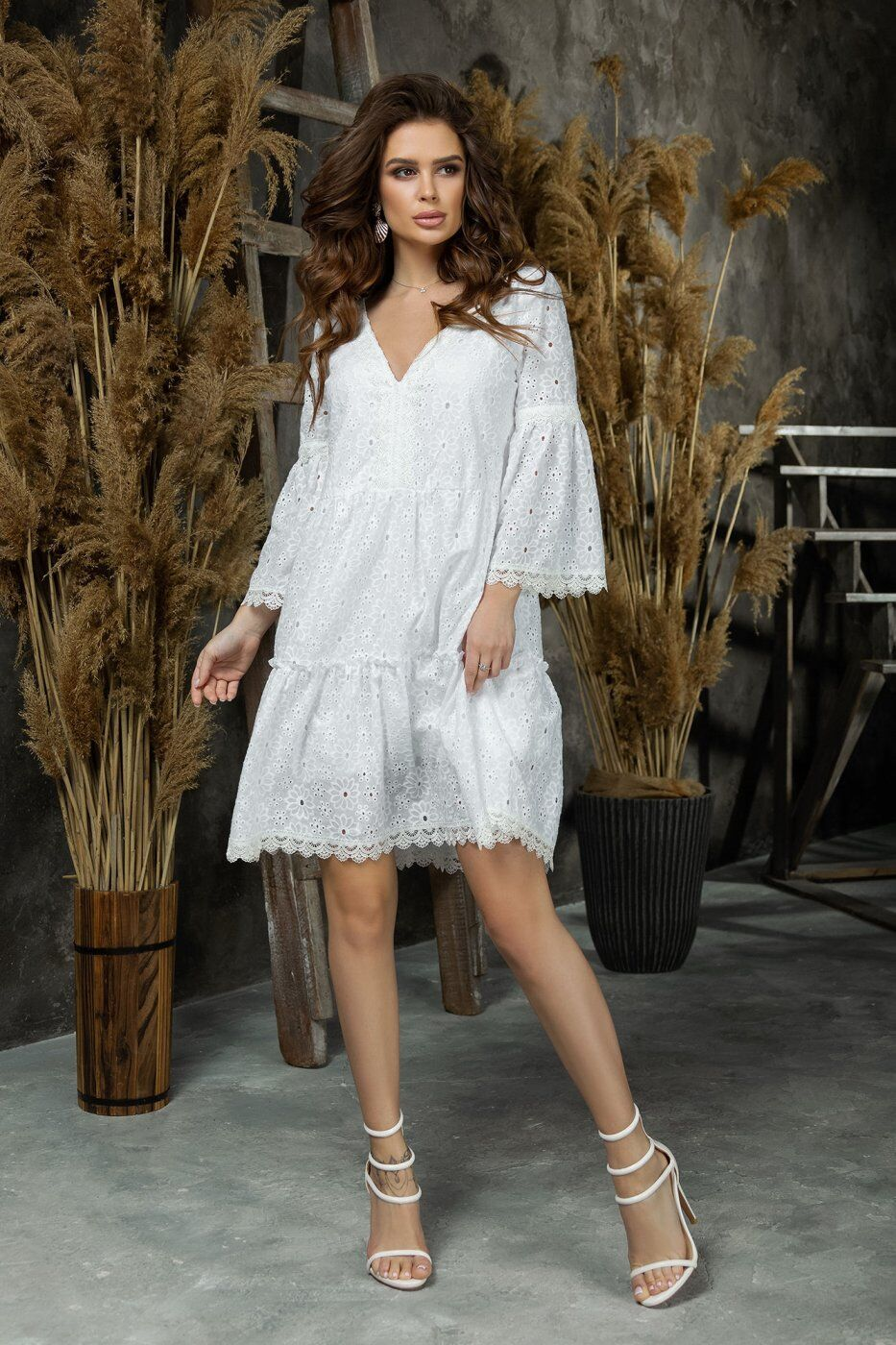 Tivardo: Белое платье свободного кроя 7335-04 - фото 1