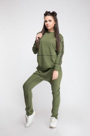 Modna Anka: Спортивный костюм Флок зеленый 211386 - фото 4