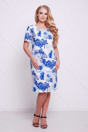 Tatiana: Классическое платье-футляр АДЕЛЬ голубое - фото 1