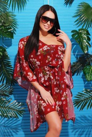 MarSe: Туника 1731 бордовые цветы - фото 1