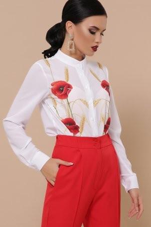 Glem: Маки Лекса КШ блуза д/р белый p50823 - фото 1