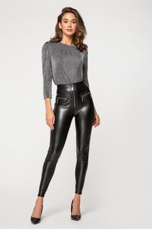 It Elle: Черные кожаные леггинсы на меху Аннджела 4126 - фото 2