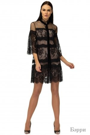 Angel PROVOCATION: Комплект (платье + комбинация) Бэрри черный на бежевом - фото 1