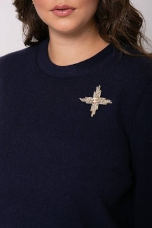 Tatiana: Прямая туника из ангоры с брошью ДАЛИЯ темно-синяя - фото 4