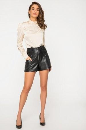 It Elle: Шелковая бежевая блуза с длинным рукавом и драпировкой Филиппина 21206 - фото 2