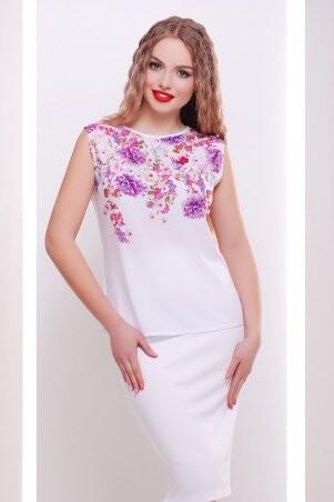 Glem: Хризантемы белый футболка Киви б/р принт p34632 - фото 1