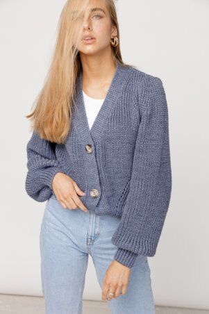 ALDi Di: Оверсайз кардиган крупной вязки, джинсовый оттенок al00466 - фото 3