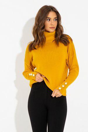 It Elle: Горчичный свитер с объемным воротником Тони 8715 - фото 1