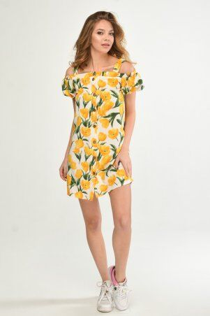 KOTIKI: Легкое короткое платье на пуговицах с открытыми плечами в жёлтый цветочный принт 19761 - фото 2