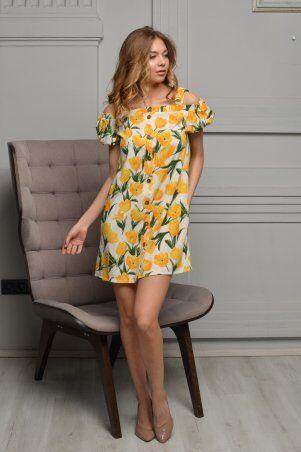KOTIKI: Легкое короткое платье на пуговицах с открытыми плечами в жёлтый цветочный принт 19761 - фото 3