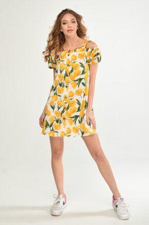 KOTIKI: Легкое короткое платье на пуговицах с открытыми плечами в жёлтый цветочный принт 19761 - фото 4