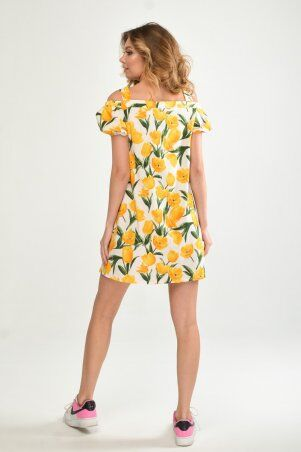 KOTIKI: Легкое короткое платье на пуговицах с открытыми плечами в жёлтый цветочный принт 19761 - фото 5