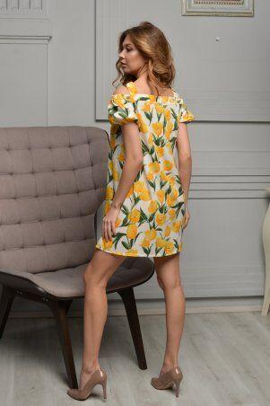 KOTIKI: Легкое короткое платье на пуговицах с открытыми плечами в жёлтый цветочный принт 19761 - фото 6