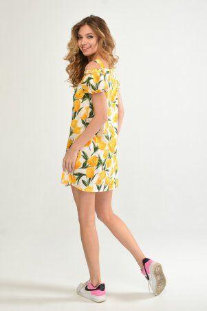 KOTIKI: Легкое короткое платье на пуговицах с открытыми плечами в жёлтый цветочный принт 19761 - фото 7