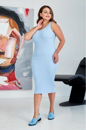"Prima Fashion Knit: Вязаное платье ""Лола"" - голубой  Size + 554403 - фото 1"
