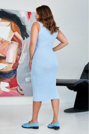 "Prima Fashion Knit: Вязаное платье ""Лола"" - голубой  Size + 554403 - фото 2"
