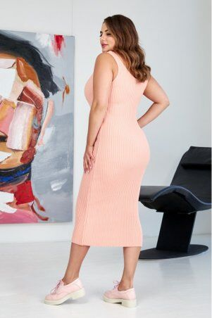"Prima Fashion Knit: Вязаное платье ""Лола"" - голубой  Size + 554403 - фото 4"