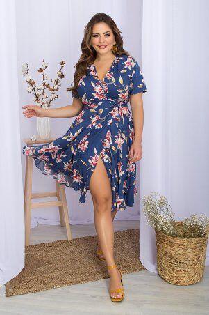 Glem: Платье Аморина-Б к/р джинс-крупный цветок p70286 - фото 1
