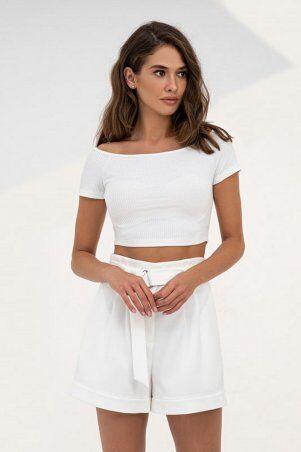 It Elle: Укороченный топ с открытыми плечами белого цвета 8306 - фото 1