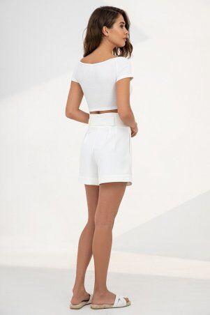 It Elle: Укороченный топ с открытыми плечами белого цвета 8306 - фото 2