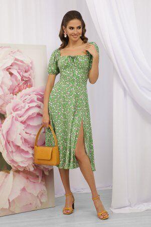 Glem: Платье Билла к/р зеленый-розов. Розы p70590 - фото 1