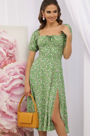 Glem: Платье Билла к/р зеленый-розов. Розы p70590 - фото 2