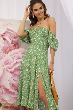 Glem: Платье Билла к/р зеленый-розов. Розы p70590 - фото 3