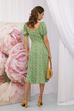 Glem: Платье Билла к/р зеленый-розов. Розы p70590 - фото 4