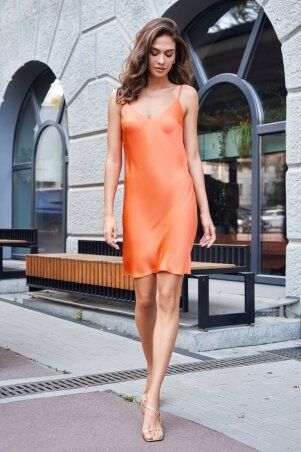It Elle: Шелковое платье-комбинация оранжевого цвета Анна 51308 - фото 3