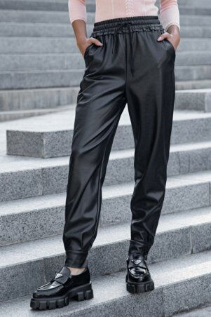 It Elle: Черные кожаные брюки с манжетами Сандра 4257 - фото 1
