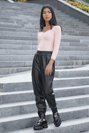 It Elle: Черные кожаные брюки с манжетами Сандра 4257 - фото 3