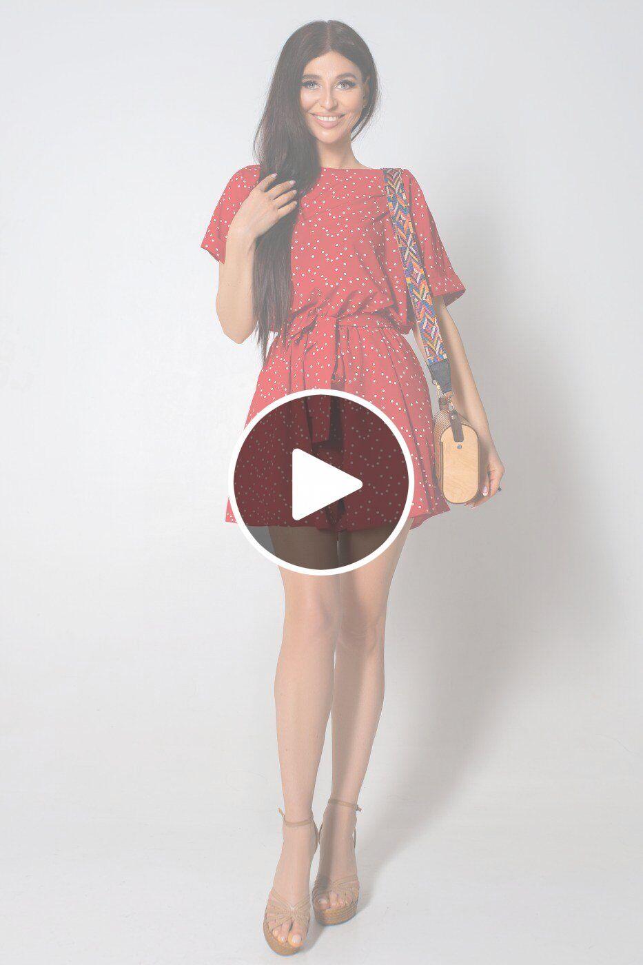 Jadone Fashion: Комбинезон ромпер Колибри красный - перейти к видеообзору товара